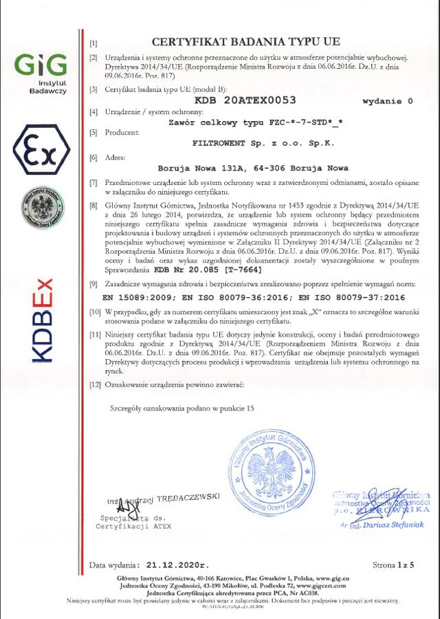 Certyfikat badania typu UE, celkowy zawór obrotowy izolujący wybuch, śluzy celkowe atex, śluzy obrotowe atex, śluza przeciwwybuchowa, zawór obrotowy przeciwwybuchowy, zawór celkowy przeciwwybuchowy, system ochronny atex
